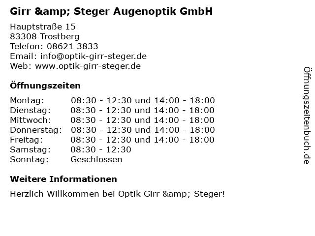GIRR & STEGER Augenoptik GmbH in Trostberg: Adresse und Öffnungszeiten