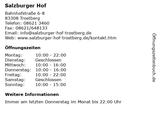 Salzburger Hof in Trostberg: Adresse und Öffnungszeiten