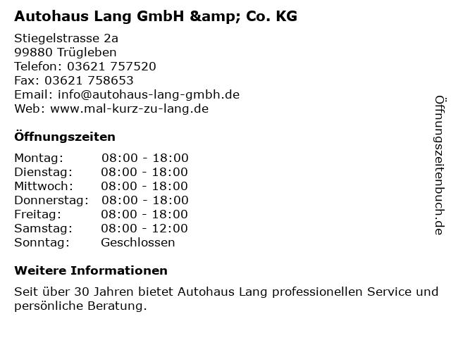 Autohaus Lang GmbH & Co. KG in Trügleben: Adresse und Öffnungszeiten