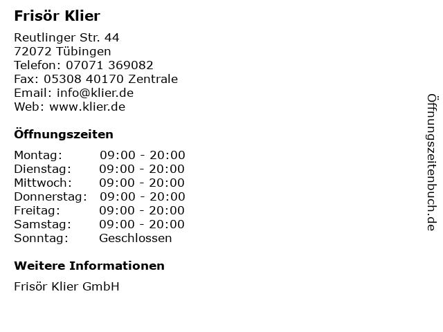 Frisör Klier GmbH in Tübingen: Adresse und Öffnungszeiten