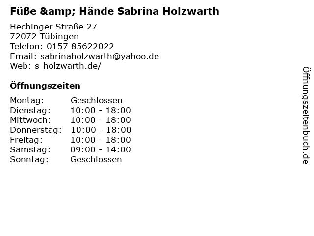 Füße & Hände Sabrina Holzwarth in Tübingen: Adresse und Öffnungszeiten