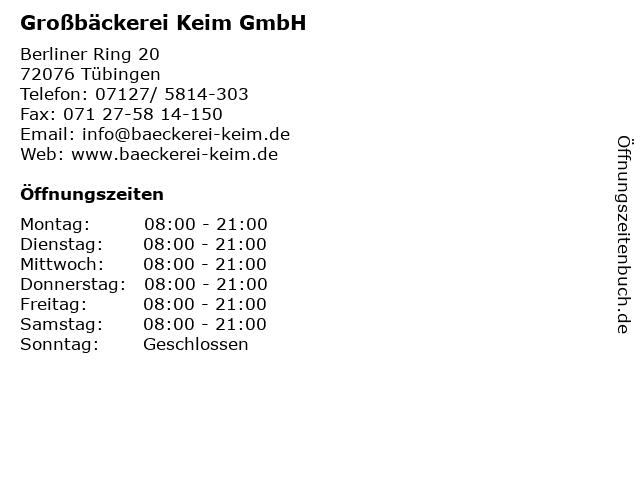 Großbäckerei Keim GmbH in Tübingen: Adresse und Öffnungszeiten