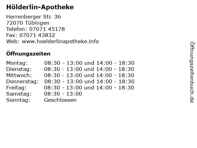 Hölderlin-Apotheke in Tübingen: Adresse und Öffnungszeiten