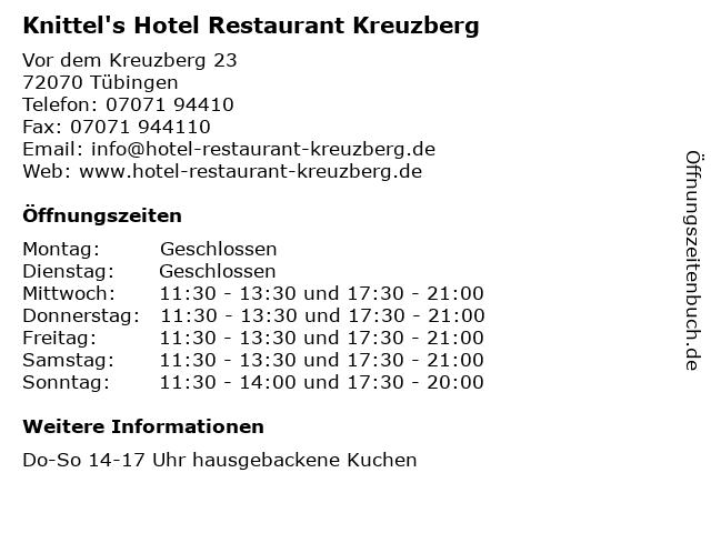 Knittel's Hotel Restaurant Kreuzberg in Tübingen: Adresse und Öffnungszeiten