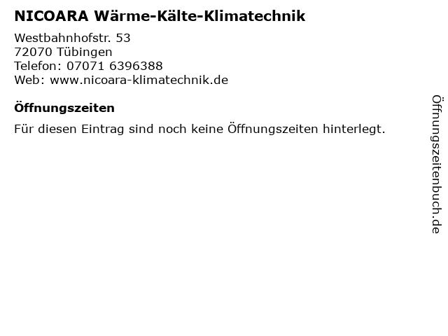 NICOARA Wärme-Kälte-Klimatechnik in Tübingen: Adresse und Öffnungszeiten
