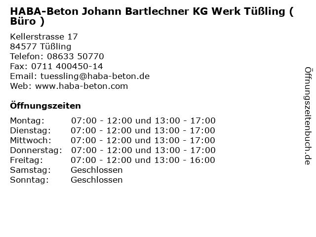 HABA-Beton Johann Bartlechner KG Werk Tüßling ( Büro ) in Tüßling: Adresse und Öffnungszeiten