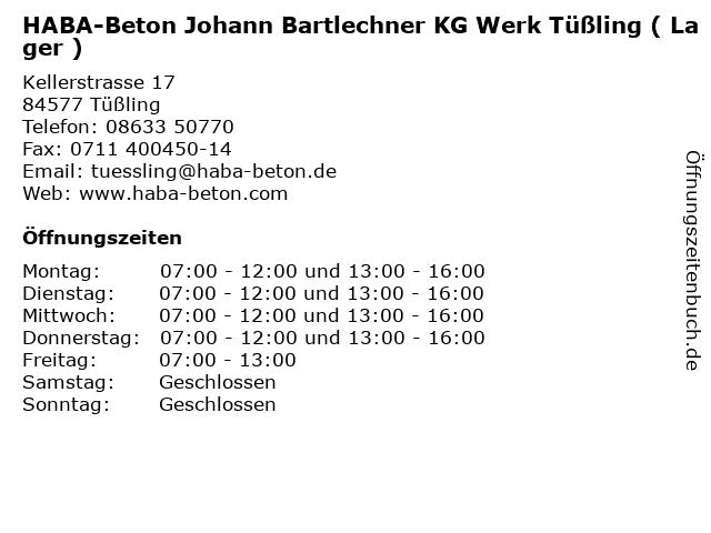 HABA-Beton Johann Bartlechner KG Werk Tüßling ( Lager ) in Tüßling: Adresse und Öffnungszeiten
