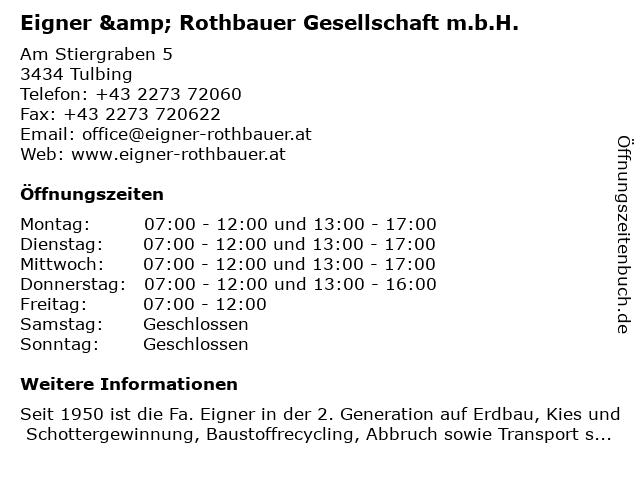 Eigner & Rothbauer Gesellschaft m.b.H. in Tulbing: Adresse und Öffnungszeiten