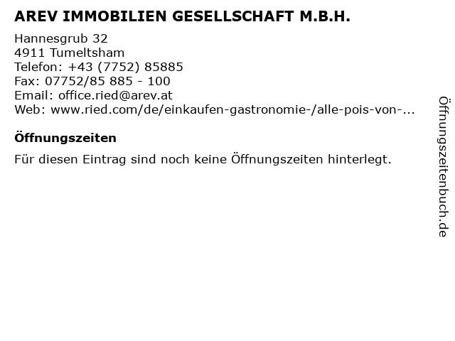 AREV IMMOBILIEN GESELLSCHAFT M.B.H. in Tumeltsham: Adresse und Öffnungszeiten