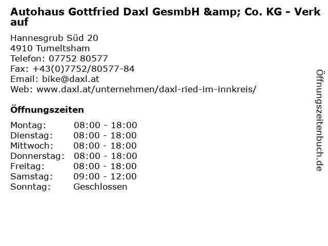Autohaus Gottfried Daxl GesmbH & Co. KG - Verkauf in Tumeltsham: Adresse und Öffnungszeiten