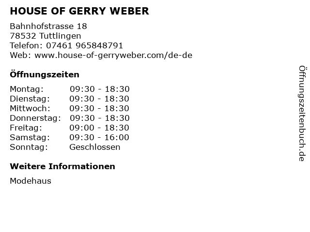 HOUSE OF GERRY WEBER in Tuttlingen: Adresse und Öffnungszeiten