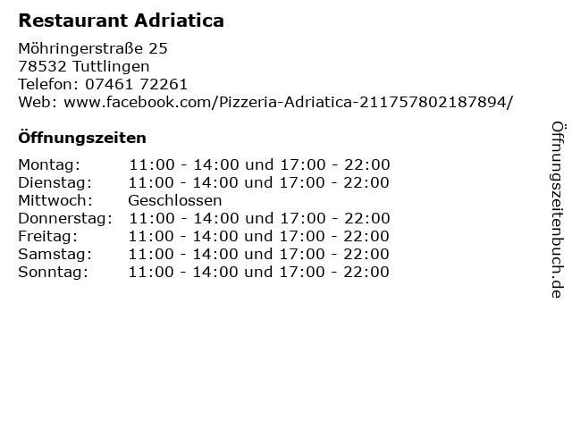 Restaurant Adriatica in Tuttlingen: Adresse und Öffnungszeiten