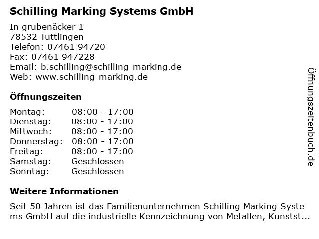 Schilling Marking Systems GmbH in Tuttlingen: Adresse und Öffnungszeiten