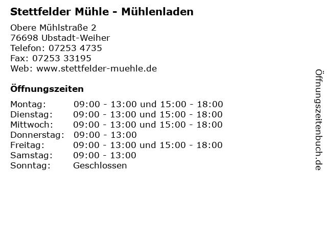 Stettfelder Mühle - Mühlenladen in Ubstadt-Weiher: Adresse und Öffnungszeiten