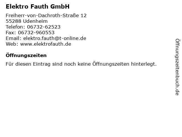 Elektro Fauth GmbH in Udenheim: Adresse und Öffnungszeiten