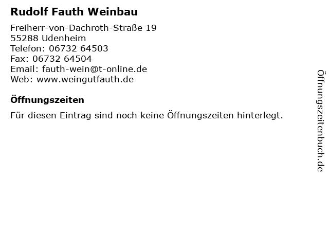 Rudolf Fauth Weinbau in Udenheim: Adresse und Öffnungszeiten
