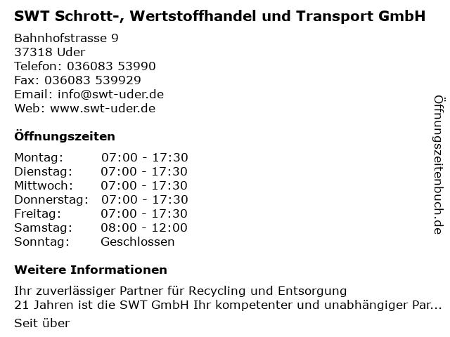 Wertstoffhof - Schrott-, Wertstoffhandel und Transport GmbH in Uder: Adresse und Öffnungszeiten