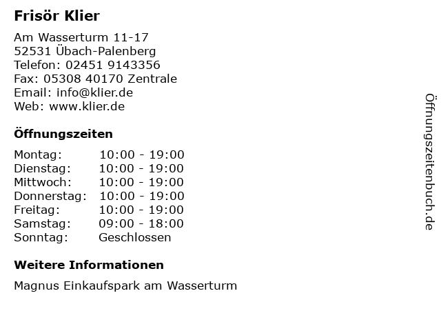 Frisör Klier GmbH in Übach-Palenberg: Adresse und Öffnungszeiten
