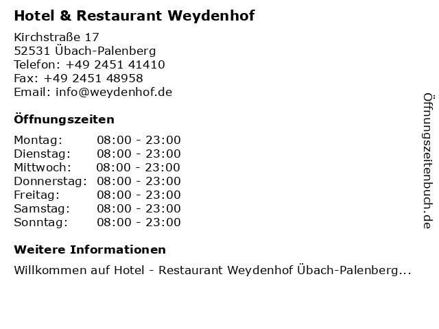 Hotel & Restaurant Weydenhof in Übach-Palenberg: Adresse und Öffnungszeiten