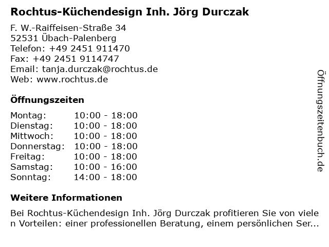 ᐅ Offnungszeiten Rochtus Kuchendesign Inh Jorg Durczak F W