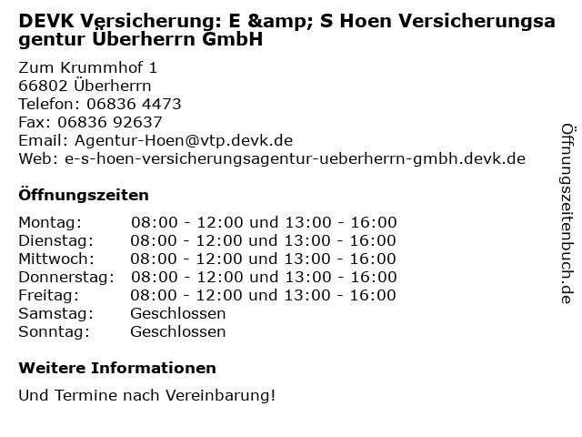 DEVK Versicherung: E & S Hoen Versicherungsagentur Überherrn GmbH in Überherrn: Adresse und Öffnungszeiten