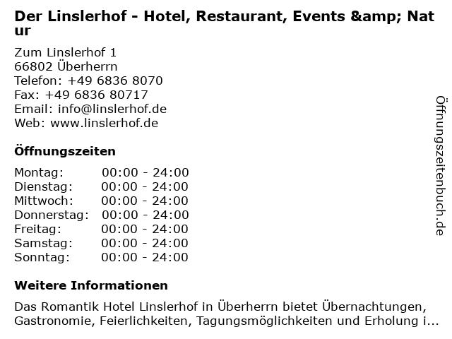 Der Linslerhof - Hotel, Restaurant, Events & Natur in Überherrn: Adresse und Öffnungszeiten