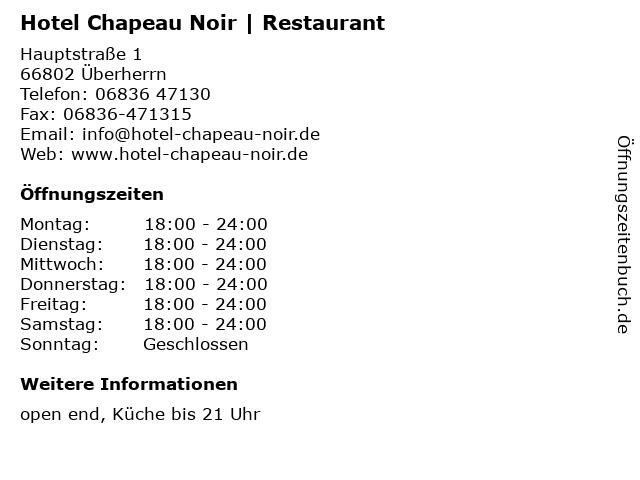 Hotel Chapeau Noir | Restaurant in Überherrn: Adresse und Öffnungszeiten