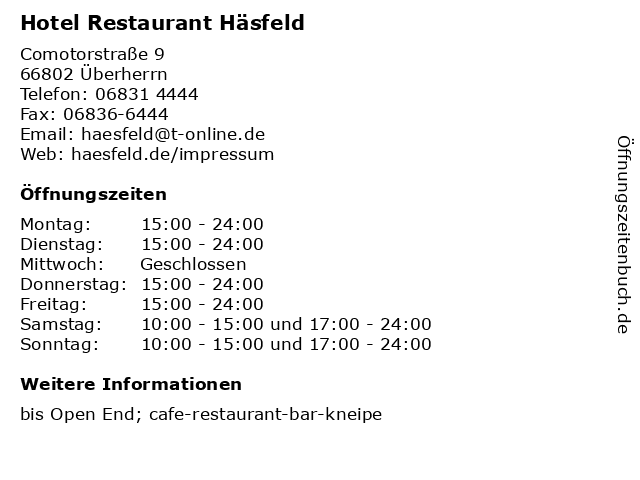 Hotel Restaurant Häsfeld in Überherrn: Adresse und Öffnungszeiten
