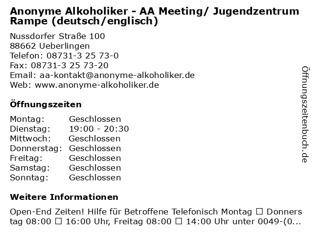 Anonyme Alkoholiker - AA Meeting/ Jugendzentrum Rampe (deutsch/englisch) in Ueberlingen: Adresse und Öffnungszeiten