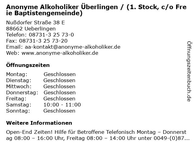 Anonyme Alkoholiker Überlingen / (1. Stock, c/o Freie Baptistengemeinde) in Ueberlingen: Adresse und Öffnungszeiten