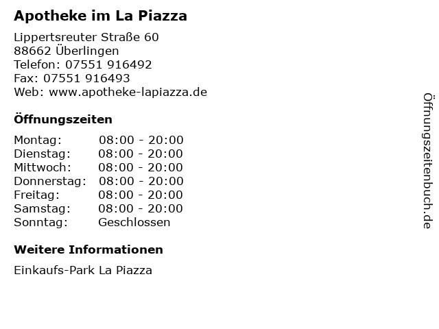 Apotheke im La Piazza in Überlingen: Adresse und Öffnungszeiten