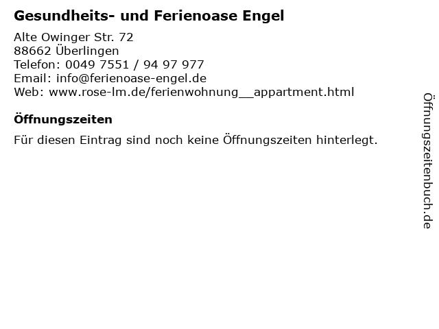Gesundheits- und Ferienoase Engel in Überlingen: Adresse und Öffnungszeiten