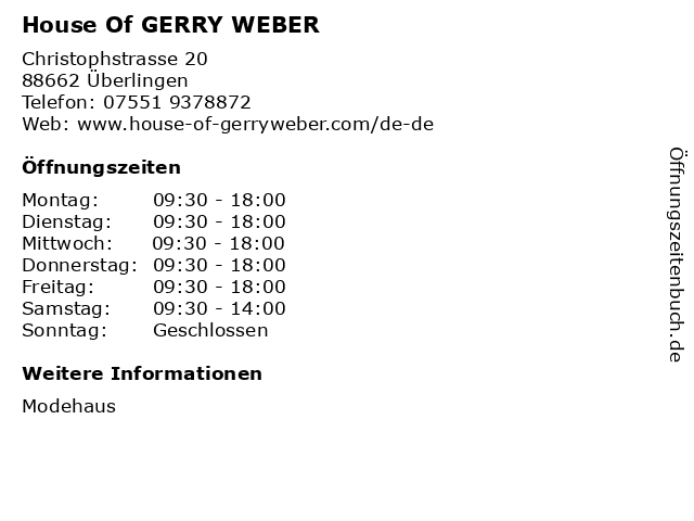 House Of GERRY WEBER in Überlingen: Adresse und Öffnungszeiten