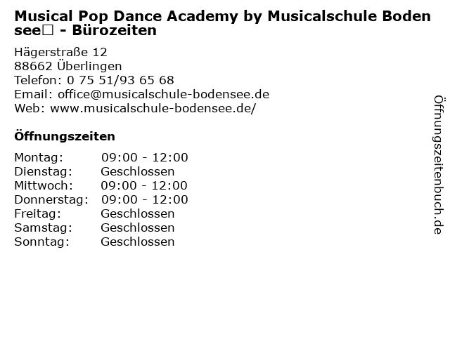 Musical Pop Dance Academy by Musicalschule Bodensee - Bürozeiten in Überlingen: Adresse und Öffnungszeiten