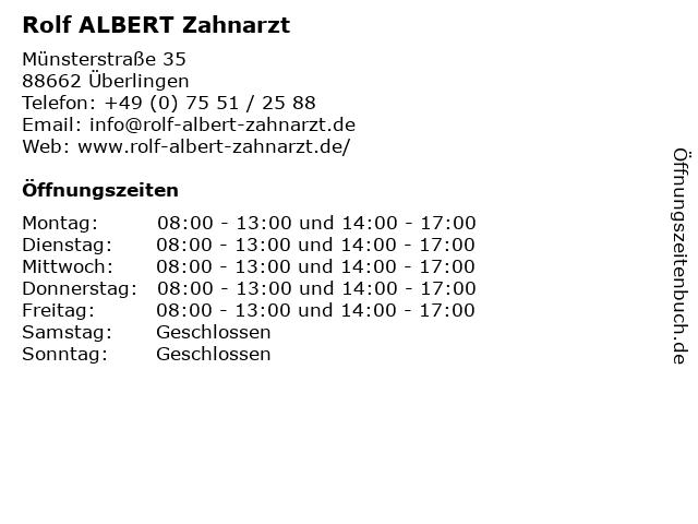 Rolf ALBERT Zahnarzt in Überlingen: Adresse und Öffnungszeiten
