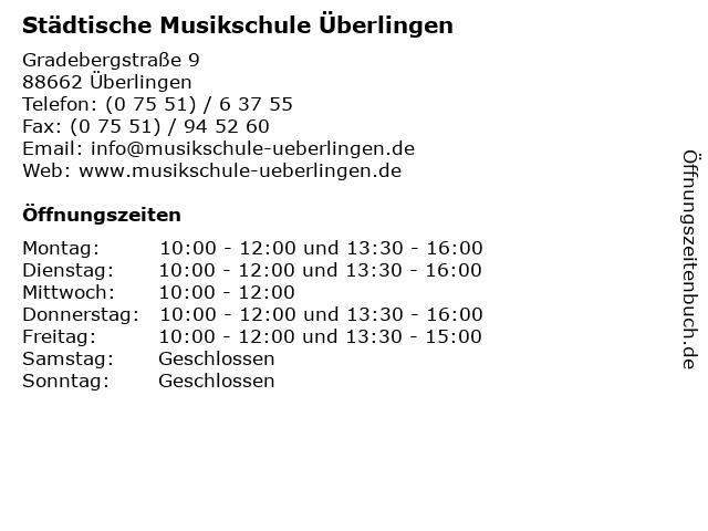 Städtische Musikschule Überlingen in Überlingen: Adresse und Öffnungszeiten