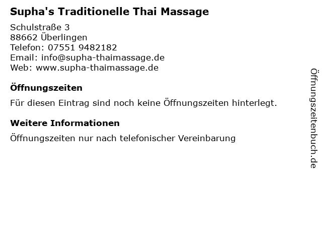 Supha's Traditionelle Thai Massage in Überlingen: Adresse und Öffnungszeiten