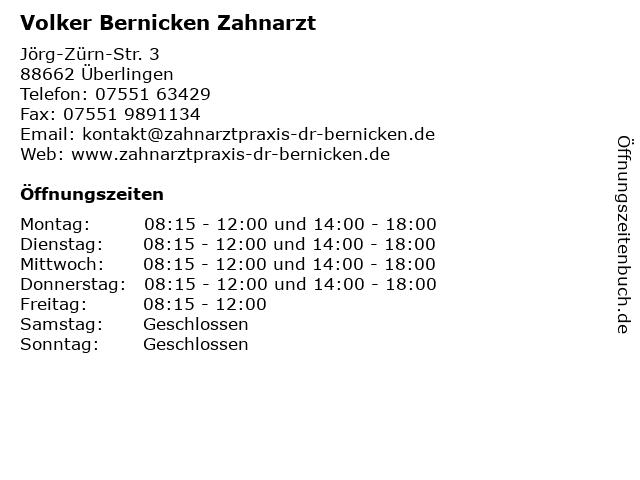 Volker Bernicken Zahnarzt in Überlingen: Adresse und Öffnungszeiten