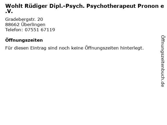 Wohlt Rüdiger Dipl.-Psych. Psychotherapeut Pronon e.V. in Überlingen: Adresse und Öffnungszeiten