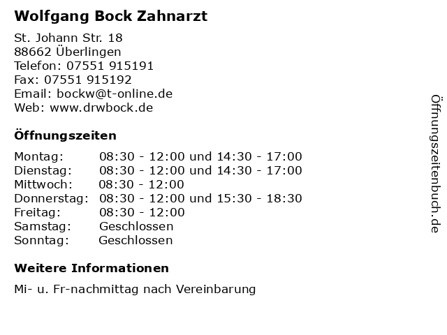 Wolfgang Bock Zahnarzt in Überlingen: Adresse und Öffnungszeiten