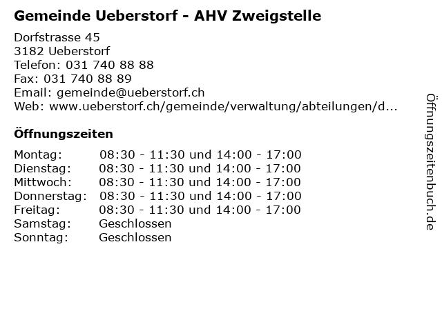 Gemeinde Ueberstorf - AHV Zweigstelle in Ueberstorf: Adresse und Öffnungszeiten
