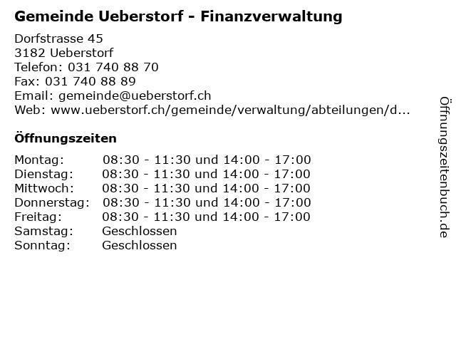 Gemeinde Ueberstorf - Finanzverwaltung in Ueberstorf: Adresse und Öffnungszeiten