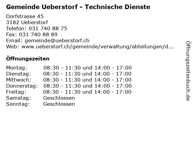 Gemeinde Ueberstorf - Technische Dienste in Ueberstorf: Adresse und Öffnungszeiten