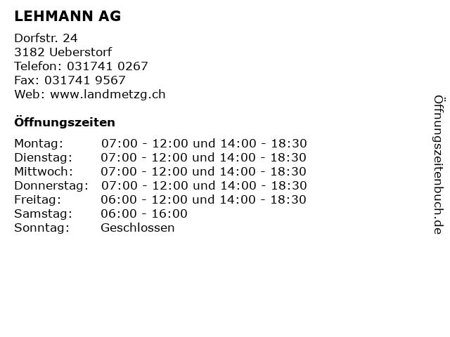 LEHMANN AG in Ueberstorf: Adresse und Öffnungszeiten