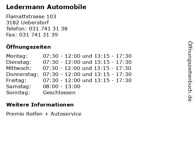 Ledermann Automobile in Ueberstorf: Adresse und Öffnungszeiten