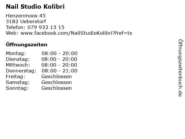 Nail Studio Kolibri in Ueberstorf: Adresse und Öffnungszeiten