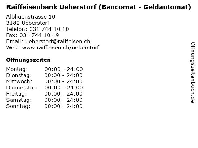 Raiffeisenbank Ueberstorf (Bancomat - Geldautomat) in Ueberstorf: Adresse und Öffnungszeiten