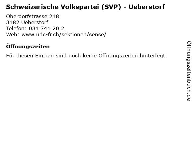 Schweizerische Volkspartei (SVP) - Ueberstorf in Ueberstorf: Adresse und Öffnungszeiten