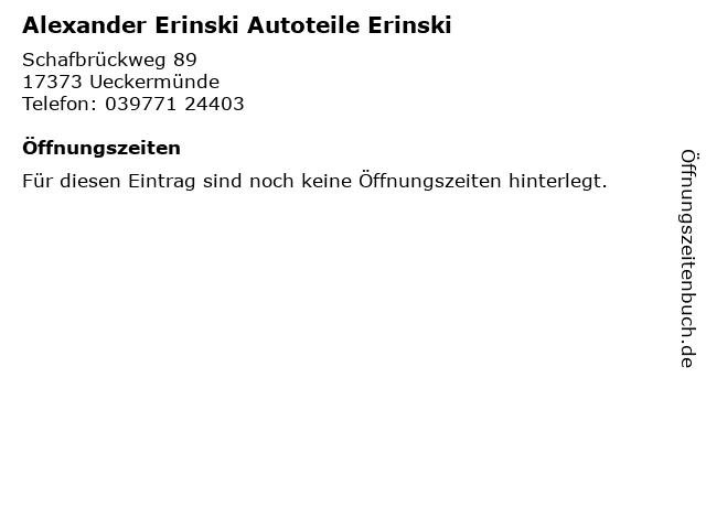 Alexander Erinski Autoteile Erinski in Ueckermünde: Adresse und Öffnungszeiten