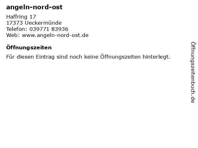 angeln-nord-ost in Ueckermünde: Adresse und Öffnungszeiten